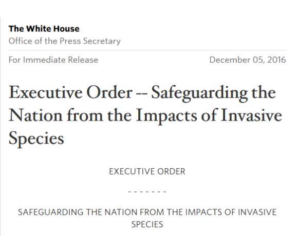 Executive Order Released – Safeguarding the Nation from the Impacts of Invasive Species
